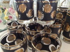 Vintage Coin Glassware Black Gold by Libbey by nanciesvintagenest, $33.00