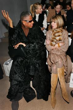 Andre Leon Talley and Anna Wintour at the Peter Som Fall presentation.