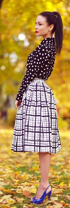 Love this look.  Lots going on, but not too busy!  polka dots and windowpane.  Very classic!