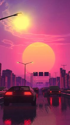 vaporwave sfondi All Synthwave retro and retrowave style of arts Trippy Wallpaper, Anime Scenery Wallpaper, Sunset Wallpaper, Retro Wallpaper, Aesthetic Iphone Wallpaper, Aesthetic Wallpapers, Wallpaper Backgrounds, Wallpaper Samsung, Neon Backgrounds