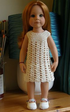 """American Girl 18"""" Doll crochet dress. Free pattern. Once you make the yoke, you could use many different stitches for the dress portion!"""