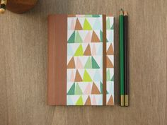 2016 Agenda in Brown and Green triangles - weekly planner - A6 size / small size - Ready to ship by ArteeLuar on Etsy