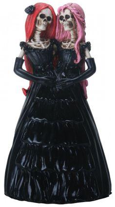 5 5 Inch Skelamese the Siamese Twins in Black Dress Statue Figurine