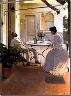 ramon casas i carbo_Interior al aire libre (1892)                                                                                                                                                                                 Más Spanish Painters, Spanish Artists, Ramones, Art Nouveau, National Art Museum, John Singer Sargent, Illustration Art, Illustrations, Renoir