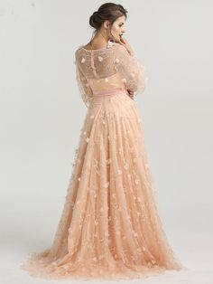 b0e1351d923 Chic A-line Scoop Long Sleeve Prom Dress With Floral Prom Dresses Long  Evening Dress