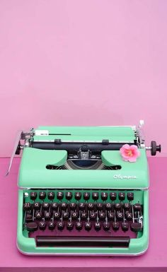 Mint green Olympia typewriter on etsy Plywood Furniture, Retro Furniture, Barbie Furniture, Farmhouse Furniture, Repurposed Furniture, Painted Furniture, Furniture Ideas, Furniture Design, Typewriter For Sale