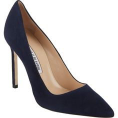 Manolo Blahnik Suede BB Pumps (40.525 RUB) ❤ liked on Polyvore featuring shoes, pumps, heels, shoes - heels, обувь, blue, blue heel pumps, blue pointed toe pumps, blue pumps and slip on shoes