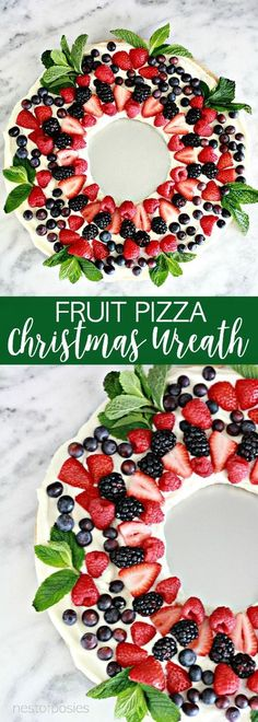 christmas desserts Fruit Pizza Christmas Wreath is the perfect thing to make for your Christmas parties. A light delicious dessert that makes a creative Christmas wreath. Best Christmas Appetizers, Christmas Party Food, Xmas Food, Christmas Brunch, Christmas Sweets, Christmas Cooking, Christmas Wreaths, Christmas Pizza, Christmas Christmas