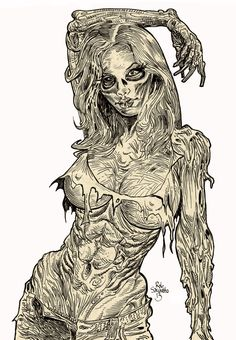 More Sexy Zombie Babe Near Nudity : Pinup Diva - Zombie Art by Rob Sacchetto Zombie Kunst, Arte Zombie, Zombie Art, Zombie Pin Up, Zombie Disney, Zombie Drawings, Art Drawings, Arte Horror, Horror Art