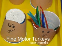 Fine motor turkeys in preschool | Teach Preschool... I did this with an upside down colander instead!