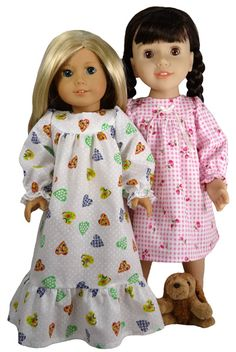 """Nightie pattern for 18"""" dolls, available from Rosie's Doll Clothes Patterns."""