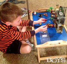 DIY LEGO table:   breakfast tray, lego bases, and E3000/6000 glue.