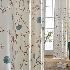 Teen Girl Bedrooms - Anady Top Blue Flower Blackout Lined Curtains 2 Panel White Curtains Drapes for Bedroom Grommet 96 inch Long 2017 New * Check this awesome item by going to the link at the picture. (This is an affiliate link). Leaf Curtains, Floral Curtains, Rustic Curtains, Lined Curtains, Colorful Curtains, White Curtains, Patterned Curtains, Buy Curtains Online, Curtains For Sale