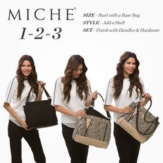 The Prima Base Bag - Miche interchangeability means you can give your bag a new look anytime you want in 3 seconds or less - fabulous. #miche #michefashion #fashion #style #handbags #purses #accessories