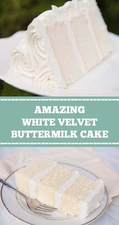 WHITE VELVET BUTTERMILK CAKE White velvet cake gets it's flavor and velvety texture from buttermilk. A moist, tender cake that is great for any special occasion. This recipe makes two round cakes about tall. White Velvet Cakes, White Cakes, Moist White Cake, Rich Cake, Wedding Cake Flavors, Wedding Cake Recipes, Flavors Of Cake, Easy Wedding Cakes, Different Cake Flavors