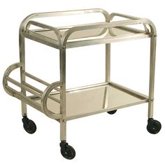 French Art Deco Rolling Bar Cart, Squared Tubing! | From a unique collection of antique and modern bar carts at http://www.1stdibs.com/furniture/tables/bar-carts/