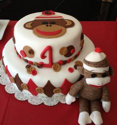 Sock Monkey Birthday Cake-Love the buttons on the cake! Sock Monkey Cakes, Monkey Birthday Cakes, Sock Monkey Party, Monkey Birthday Parties, Leo Birthday, Birthday Ideas, Cupcake Cakes, Cupcakes, First Birthdays