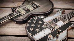 Super cool guitars from @trussartguitars and @mcswainguitars in Stock! #itsahighendguitarthing #blackflag #steeldeville