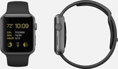 APPLE WATCH SPORT 38mm and 42mm Case 7000 Series Space Gray Aluminum Ion-X Glass Display Composite Back Sport Band Black Fluoroelastomer Space Gray Stainless Steel Pin