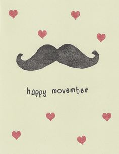 Happy Movember Mustache Handstamped Greeting Card by awkwardmoment, $3.25