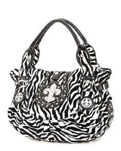 Black & White Zebra Print Rhinestone Fleur De Lis Large Hobo Purse $49.99
