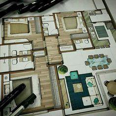 Casa Feng Shui, Rendered Plans, Interior Rendering, Hand Sketch, Gallery Wall, Floor Plans, Diagram, Layout, Flooring