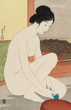[フリー絵画素材] 橋口五葉 - 浴場の女 (1915) ID:201402092000