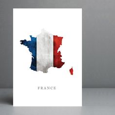 Flag Map of France Print. 8x10 on A4 Archival by silvermoonprints #france