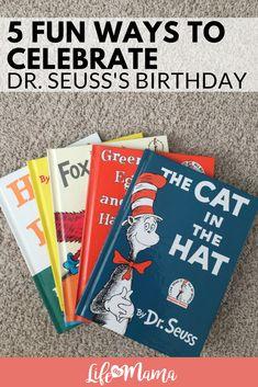 Fun ways to celebrate Dr. Seuss's Birthday (aka National Read Across America day!). #drseuss #catinthehat #greeneggsandham #nationalreadacrossamerica #readacrossamerica #reading