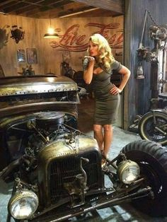 """Two beauties caught in one frame - Courtney Hansen definitely favors the """"rat rod"""" style that imitates the early hot rods of the and Rat Rod Girls, Car Girls, Pin Up Girls, Pin Up Auto, Pin Up Car, Rat Rod Trucks, Dually Trucks, Rat Rod Pickup, Diesel Trucks"""