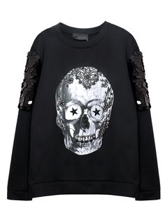 Black Sequined Sweatshirt With Studded Skull   Choies