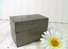 Crusty Grey Metal Recipe Box  Vintage Ohio Art Co  by DivineOrders, $9.00