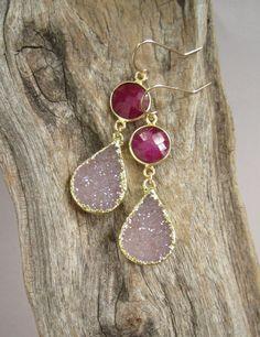 Druzy Earrings Drusy Quartz Ruby Drops Gold by julianneblumlo