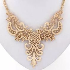 Gold Laced Pendant Choker Bib Statement Very delicate laced necklace. It does look like gold lace! it is thing metal that stays on place - the gold color is ver subtle. Bundle to save on shipping. i accept offers Jewelry Necklaces