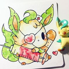 nurse leafeon!  #inktober saved my personal favorite for last!! (my friend got me the little leafeon toy~) adopted by @fromkino