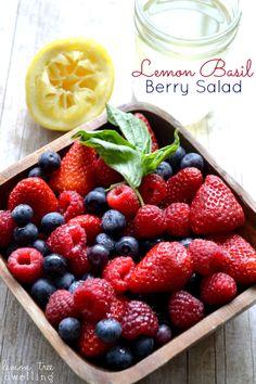 Lemon Basil Berry Salad - made with fresh berries and homemade lemon-basil simple syrup.