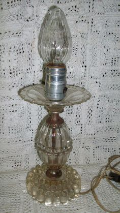 Antique Vintage Boopie Prism Imperial Candlewick Glass Table Lamp No Prisms | eBay