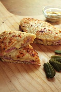 Croque Monsieur, the king of French bistro food, with sweet smokey ham, gooey gruyere, Dijon, and a slathering of béchamel.
