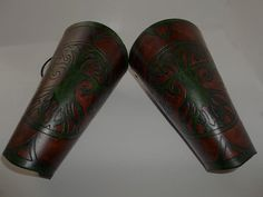 Leather Bracers  Tree of Life Emerald Green on by WolfandHammer, $55.00