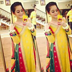 Yellow is a bright color that does not suit everybody. But her we have collected pictures of Pakistani Celebrities who look stunning in yellow. Have a look. Pakistani Bridal Wear, Pakistani Dresses, Aimen Khan, Mehndi Dress, Mehendi, Desi Clothes, Pakistani Actress, Girls Dp, Bride Look