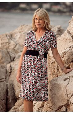 BELLENISA NAVY AND RED PRINT DRESS