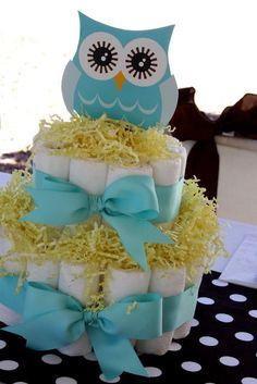Baby boy owl diaper cake