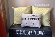 """Since I'm sewing """"challenged"""", this is a great tutorial for me! DIY: No Sew Pillows {from placemats & fabric napkins}"""