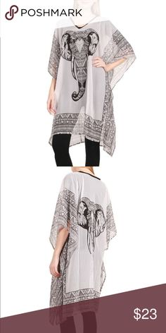 Elephant Chiffon Kaftan Poncho One Size! Accessories Scarves & Wraps