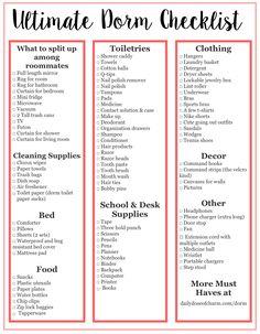 Dorm Room Checklist Free Printable College Pinterest