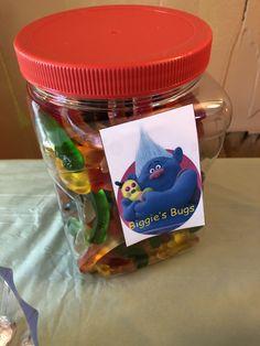 Trolls Birthday Party Ideas: Gummy worms for Biggie's Bugs
