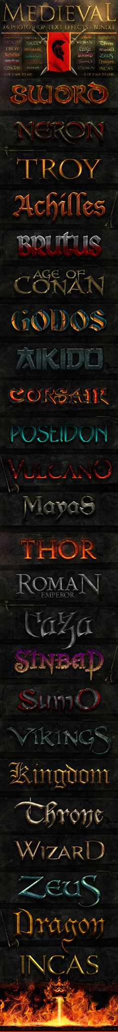 Medieval Photoshop Text Effects [BUNDLE] - Text Effects Styles
