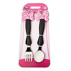Minnie Mouse Bow Flatware Set   Disney Store Minnie's flatware set gets dressed up for meal times with a dashing polka dot bow. The spoon and fork feature a molded bow on the handles so little ones can easily get to grips with their favorite character.