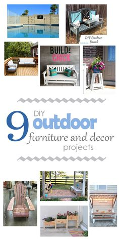 Check out this awesome roundup of DIY Outdoor Furniture and Decor. Great tutorials on how to build them and some inspiration for your outdoor spaces. Woodworking, DIY furniture, DIY building plans, free woodworking plans