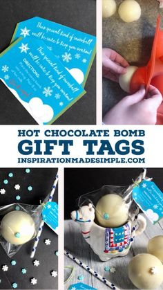 Learn how to make Snowball Hot Chocolate Bombs and package them up with this printable gift tag! Hot Chocolate Gifts, Hot Chocolate Mix, Winter Treats, Winter Food, Great Christmas Gifts, Holiday, Homemade Ornaments, Gift Tags Printable, Snowball